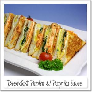 玉子とベーコンとほうれん草のホットサンドイッチ、クリーミーパプリカソース