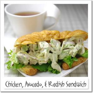 鶏、アボカド、ラディッシュのサンドイッチ