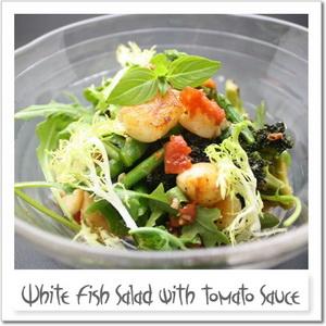 白身魚のトマトソースサラダ Food Couture:サラダのレシピ一覧 HOME サラダのレシ