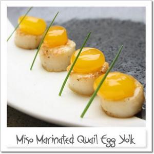 ウズラ卵黄の味噌漬け・醤油漬け