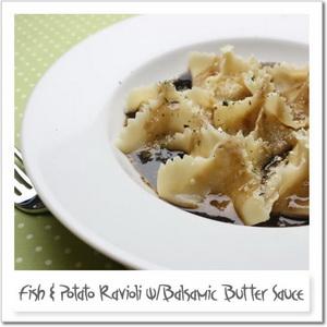 白身魚とジャガイモのラビオリ、バルサミコバターソース