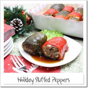 クリスマス色で中華風ピーマンの肉詰め
