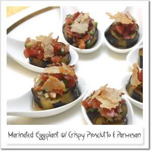 揚げ茄子のマリネ、生ハムとチーズのカリカリと共に