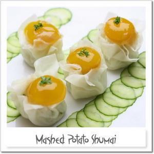 マッシュポテト・シュウマイ~ウズラ卵黄の味噌漬けと共に~
