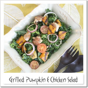鶏肉とカボチャのグリルサラダ・クリーミーカレードレッシング