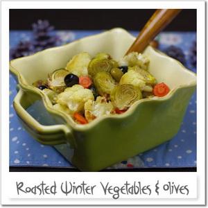 冬野菜とオリーブのロースト、レモン風味